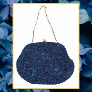 Vintage 60s Blue Beaded Handbag Made In Japan
